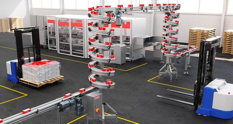 مصعد حلزوني مدمج Compact spiral elevator في أنظمة النقل لخطوط التعبئة والتغليف